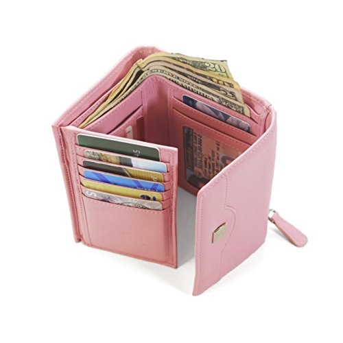 Top Ladies Rfid Pink Trifold And Leather Compact Security Quality Protection Women Wallets For rxS60xOAwq