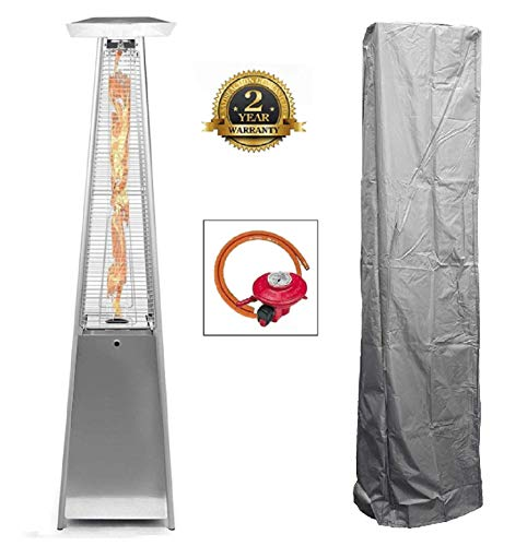 BU-KO Outdoor Patio Gas Heater   Garden, Camp, BBQ Parties   Stainless Steel Pyramid Style 13kw Propane Burner   Portable Wheels, Regulator & Hose   LPG Warm Heating Fire & Water Proof Cover Included