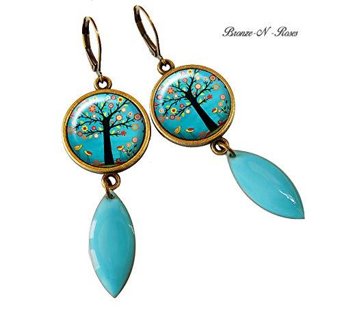 boucles doreille cabochon arbre aux fleurs bleu turquoise bronze gouttes