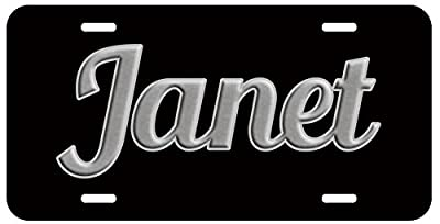 Personalized Name on License Plate - Black Grey Fancy Custom Auto Car Tag