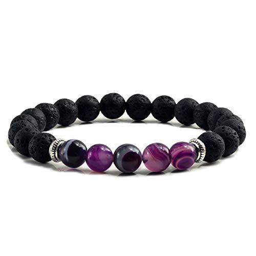 Natural Volcanic Stone Bracelets Charm Women Chakra Balance Beads Men Black Lava Turquoises Strand Bangle Fashion Buddha Jewelry Purple ()