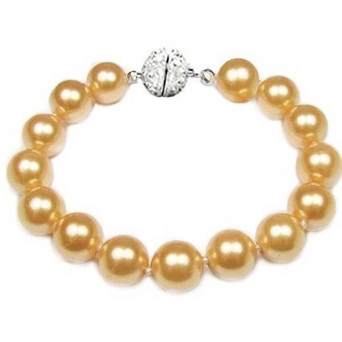 Bling Jewelry Golden Yellow Strand Bracelet For Women Rhodium Plated Crystal Clasp Simulated Pearl 12mm 8 inch ()