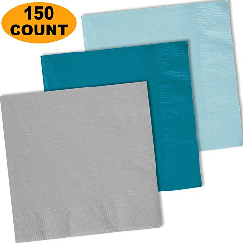 (150 Lunch Napkins, Shimmering Silver, Turquoise, Pastel Blue - 50 Each Color. 2 Ply Paper Dinner Napkins. 6.5