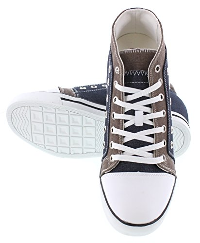Calden - K882897 - 3,8 Inches Taller - Height Increasing Elevator Shoes - Blauw / Grijze Fashion Sneakers