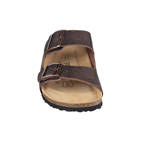 JOE N JOYCE Unisex London Leder Soft Fußbett Sandalen Darkbrown Größe 37 EU Normal sKaKU1prv
