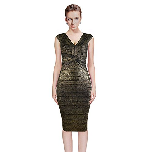 Best Quality Bandage Dresses For Women Bodycon Party Celebrity Chic Luxe Vneck Oil Print Knee Length Skirt (S, - Designer Essex Outlet