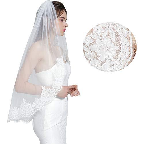 Wedding Bridal Veil with Comb 1 Tier Eyelash Lace Trim Applique Edge Fingertip Length 37 Ivory