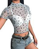 Strapless Tube Top, Hawaiian Shirts for Women Plus Size,Fashion Women Turtleneck Short Sleeve Cherry Print Mesh Perspective Crop Top