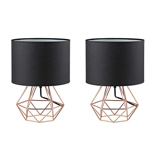 Frideko 2 Pack Modern Table Lamp with Fabric Shade and Hollowed Out Cage Style Metal Base for Bedside Bedroom Living Room Dining Room (Black-Rose Gold) - Lamp Desk Black Polished
