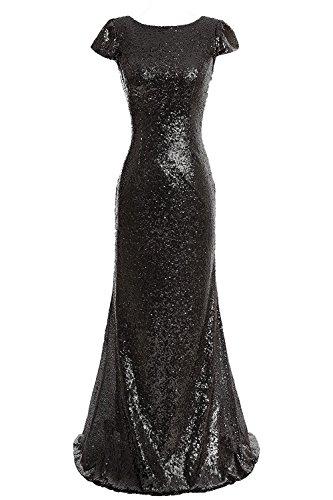 Babyonlinedress Vestido largo para fiesta de noche para boda estilo ajustado y elegante escote redondo manga corta sin espalda con lentejuelas negro