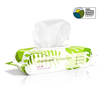 Earth-Rated-Dog-Wipes-USDA-Certified-99-Percent-Biobased-Hypoallergenic-Pet-Wipes-for-Dogs-Cats-Unscented-Deodorizing-Grooming-Wipes-for-Paws-Body-and-Butt