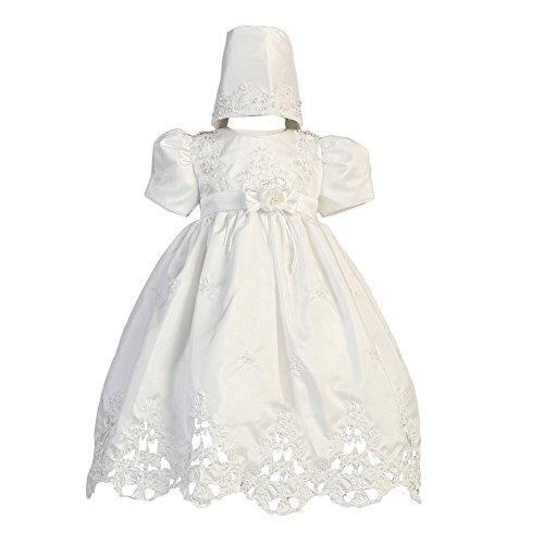 Lito Baby Girls White Shantung Cutwork Dress Bonnet Christening Set 6-9M