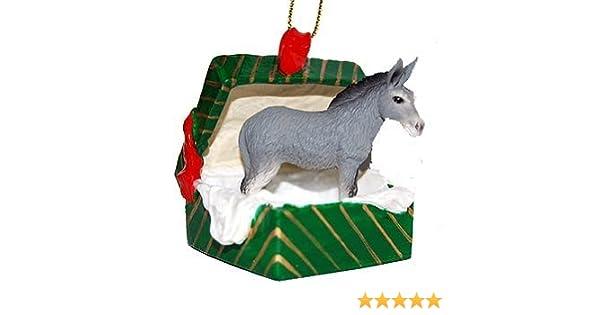 Donkey Christmas Ornaments.Donkey Gift Box Christmas Ornament Delightful