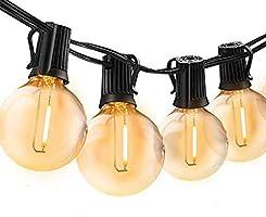 Bomcosy łańcuch świetlny na zewnątrz, z żarówkami G40, oświetlenie zewnętrzne, 12 żarówek z 1 żarówkami zapasowymi, 7,6...
