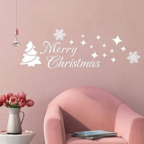 FlyWallD Christmas Tree Sticker Winter Snow Wall Decal Merry Christmas Quotes Star Vinyl Art Decor