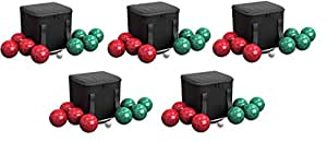 Hey! Play!! 80-76090 Bocce Ball Set- Outdoor Family Bocce Game Backyard, Lawn, Beach & More- 4 Red & 4 Green Balls, Pallino & Carrying Case (4-Pack)