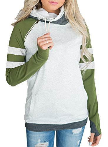 (Happy Sailed Women Colorblock Long Sleeve Cowl Neck Drawstring Hoodies Double Hooded Pullover with Pockets XX-Large Green)