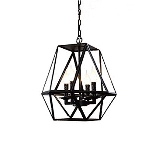 (CCSUN Lantern Polygon Pendant Light,Candle Cage Hanging lamp Indoor Lighting Ceiling Light fixtures for Dining Room Cafe Bar Foyer-4-Lights A)