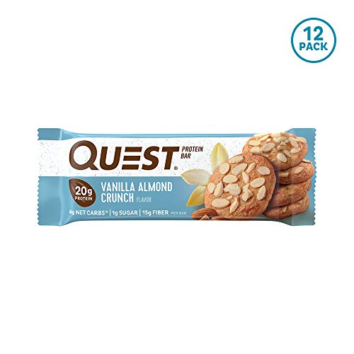 Quest Nutrition Vanilla Almond Crunch Protein Bar, High Protein, Low Carb, Gluten Free, Keto Friendly, 12 Count