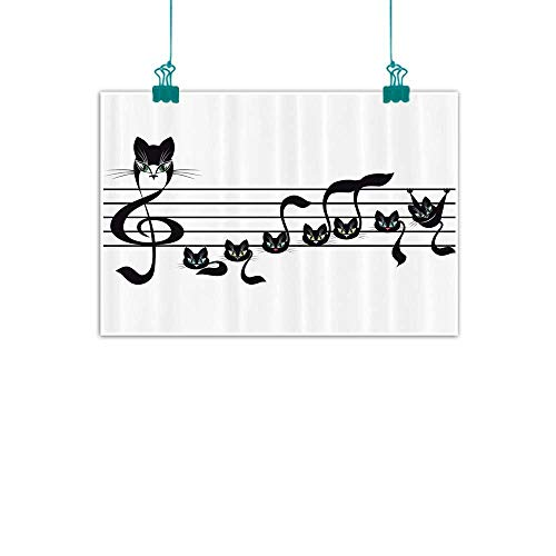 (Music Decor Collection Wall Art Decor Poster Painting Notes Kittens Cat Artwork Notation Tune Children Halloween Style Pattern Decorations Home Decor 35