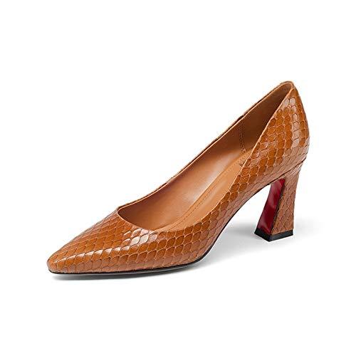 Primavera Calidad Tamaño Zapatos 43 Mujeres Tacones Cuadrados 33 Bombas Altos Grande Hoesczs Concisa Mejor Orange Cuero Genuino Nuevas De Mujer Sólido Wvq1xwaAP6