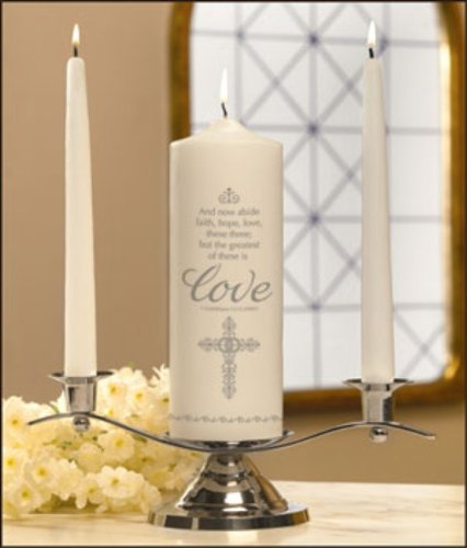 Faith Hope and Love Wedding Unity Candle Set Mark Bowers Applique on Wax