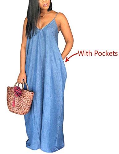 Denim Maxi Dress - Flovey Denim Maxi Dresses for Women, Summer Casual Condole Belt Deep V Neck Loose Dress (Blue-with Pockets, XL)