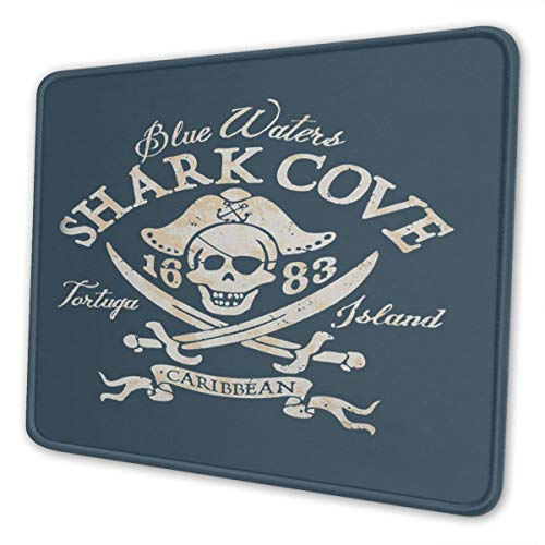 Gaming Mouse Pad Retro Pirate Shark Cove Tortuga Island Mousepad Rectangle Non-Slip Rubber Mouse Pads Mat for Office/Computer/Laptop 8.3 X 10.3 in