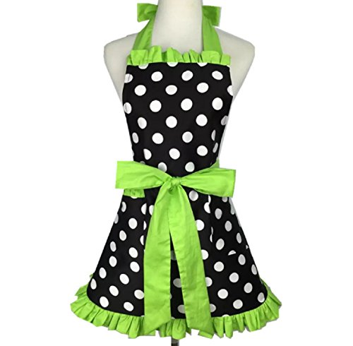 Green Kitchen Apron - Aprons for Women Retro Vintage Aprons, Cooking Kitchen Aprons Plus Size with Extra Ties & Pocket 28.3 x 24.4