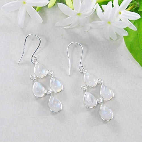 (Sivalya 925 Sterling Silver Chandelier Earrings with Dainty Rainbow Moonstone Drops - 2