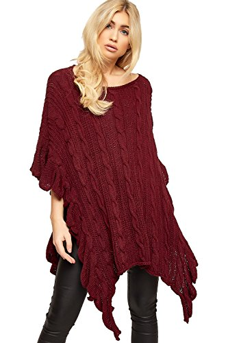WearAll Women's Cable Knitted Ruffle Frill Trim Hanky Hem Cardigan Top Poncho - Wine - One Size - Frill Detail Cardigan