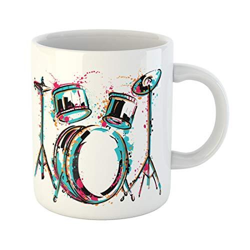 Semtomn Funny Coffee Mug Reggae Drum Kit Splashes in Watercolor Colorful Sketch Music 11 Oz Ceramic Coffee Mugs Tea Cup Best Gift Or Souvenir
