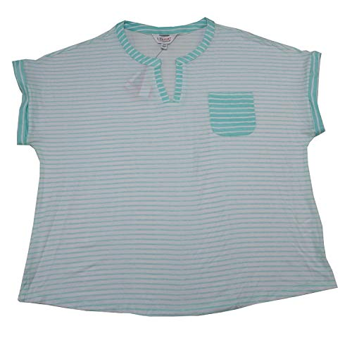 Liz Sport Womens Size X-Large Striped Pocket Front Blouse Shirt, Blue Tint Combo