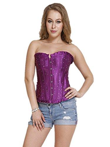 Czj-Innovation Mujer Corsé Top Negro Rojo Azul Púrpura Púrpura