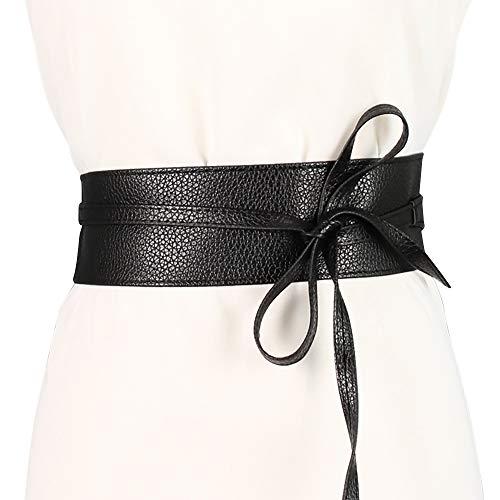 ICSTH Womens Soft Faux Leather Self Tie Wrap Around Obi Waist Band Cinch Belt , Black Lace , One Size