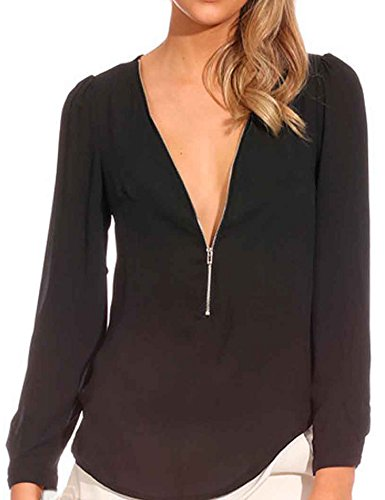 FACE N FACE Women's Chiffon Sexy Long Sleeve V Neck Zipper Shirt Blouse XX-Large Black