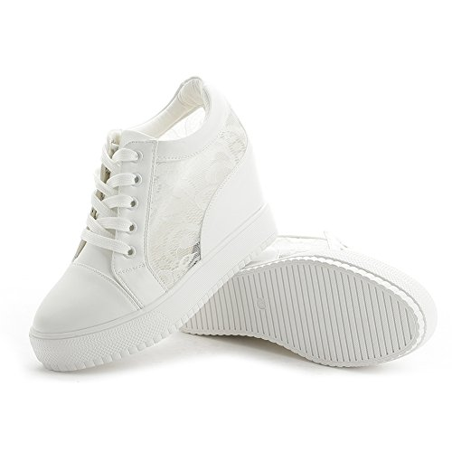 GIY Women Fashion Laces Low Top Lace-up Wedge Sneakers Platform Increased Height Casual Sports Shoes White toFJtWO6J