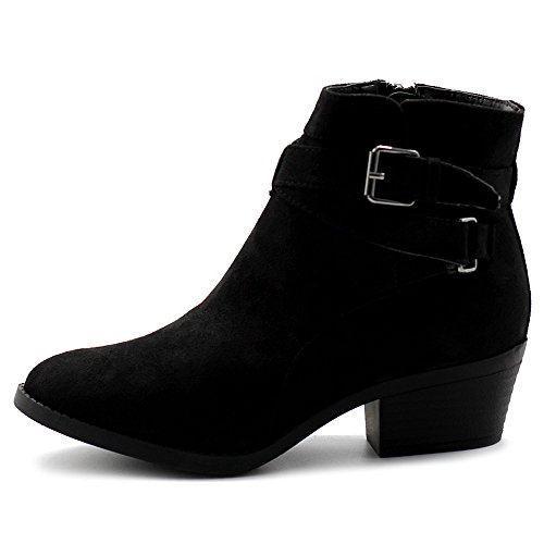 Faux Suede Buckle (Ollio Women's Shoes Faux Suede Buckle Straps Stacked Heel Ankle Boots TWB0104 (8.5 B(M) US, Black))