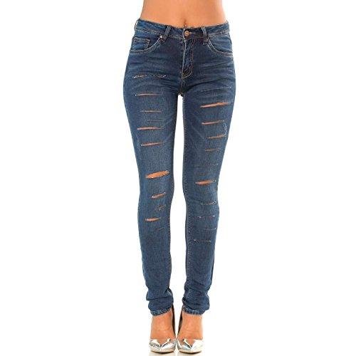 sur Jeans Pantalon Devant Miss Line trou Bleu Wear Effet Le Brut Slim xzEwqRE6t