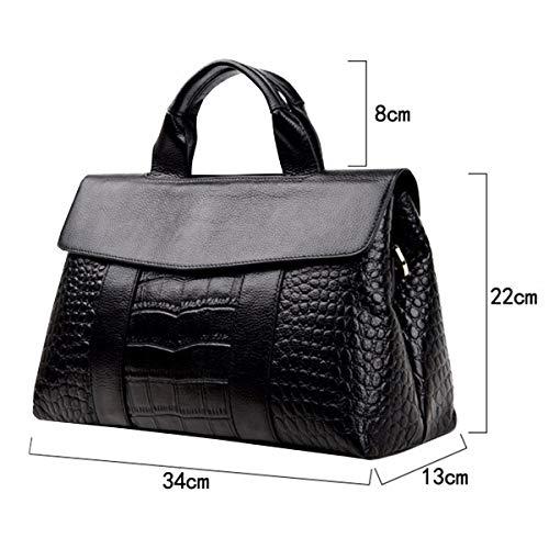 Bandoulière Grande Dames Leather Noir Sac Crocodile Sac Mode Capacité Nouveau Motif Messenger Main Sauvage à 2018 Sac HJLY En Américain Européen à Cuir vqB8qxaw