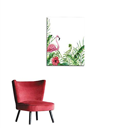 Wallpaper Watercolor tropical nature card Hand painted floral frame with palm tree leaves fern branch banana and magnolia leaves hibiscus flower and flamingo isolated on white backgrounmural 24