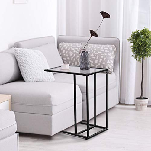 """TANGKULA 26"""" Sofa Side Table Snack Table, Solid Glass Heavy Duty Portable Living Room Bedroom Couch C Table End Table Laptop Desk Coffee Tray"""