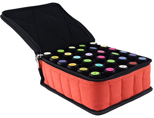 pureGLO Essential Oil Carrying Case - Soft 30 Holds 5ml, 10ml, 15ml Aromatherapy Bottles - Essential Oils Display Organizer Bag for Storing and Traveling with Portable Handle(Orange)