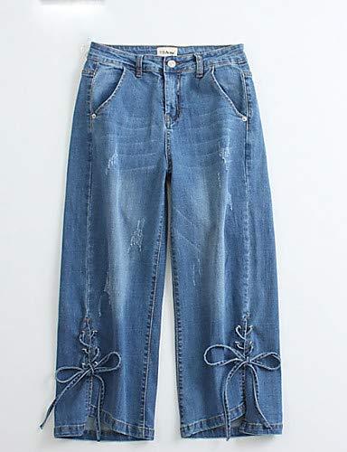 algodón Pantalones Mujeres Pantalones Alta de Light de para de Color Primavera Spandex Vacaciones Blue Pierna Vaqueros Ancha básicos Cintura Arco sólido YFLTZ dPT0xqwIP