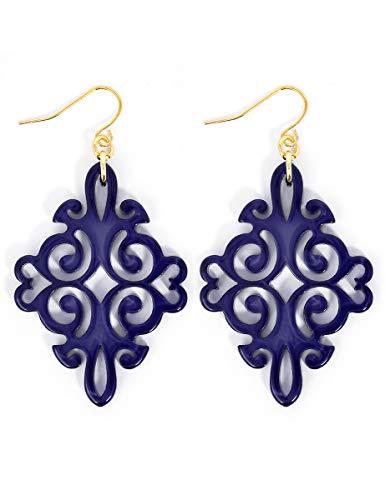 (ZENZII Acrylic Resin Twirling Drop Earrings for Women (Navy))