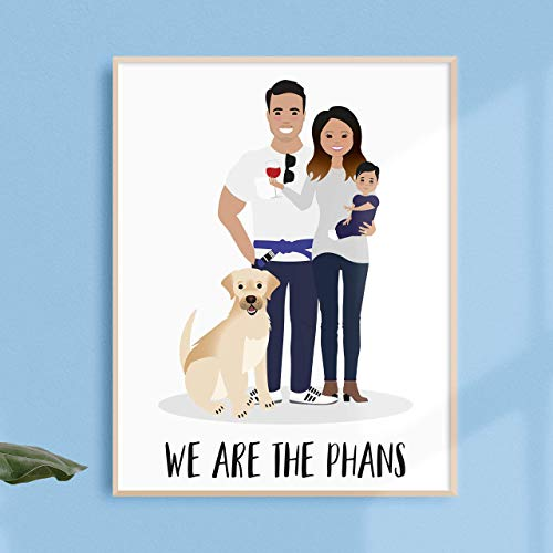 Illustration Portrait - Custom Family Portrait Illustration, Personalized Family Picture, Custom Couple Portrait, Anniversary Gift, Wedding Gift, Engagement Gift, Family & Pets - more sizes and colors available!