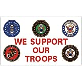 Fox Outdoor 84-40 3 x 5 ft. We Support Our Troops Branch Logos Flag