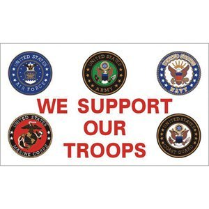 Fox Outdoor 84-40 3 x 5 ft. We Support Our Troops Branch Log