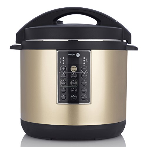 Fagor LUX Multi-Cooker, 8 quart, Electric Pressure Cooker, Slow Cooker, Rice Cooker, Yogurt Maker and more, Champagne – 935010055