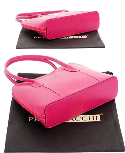 Handbag Made Grab Fuschia Storage Protective Includes Bag Shoulder Tote Pink Primo Long or Italian Hand Smooth Branded Leather Bag Style Bag Classic Handled a Sacchi® vC7qxwg